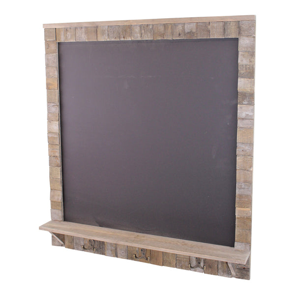 Large Blackboard with Driftwod Effect Surround, Shelf and 3 Double Hooks