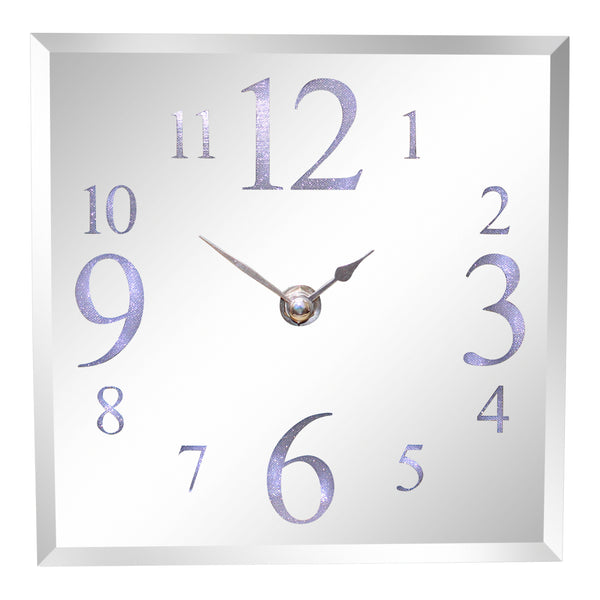 Led Light Up Square Mirrored Silver Glass Contemporary Wall Or Mantel Clock 18cm.