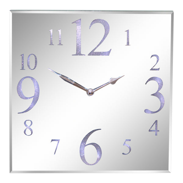 Led Light Up Square Mirrored Silver Glass Contemporary Wall Or Mantel Clock 30cm.