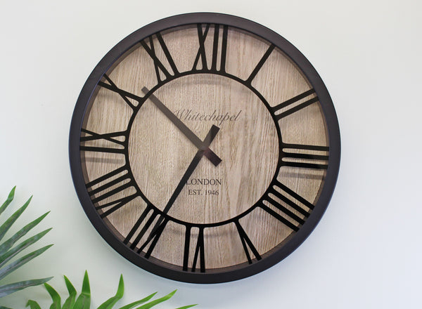 Black & Wood Effect Clock With Roman Numerals