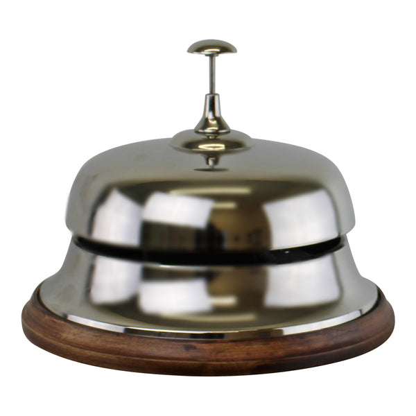 Large Silver Metal Bell With Wooden Base