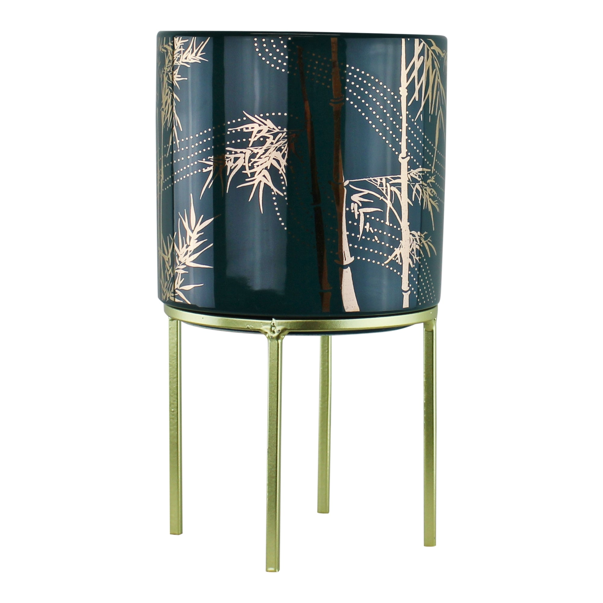 Small Eastern Planter With Stand Featuring Bamboo Design