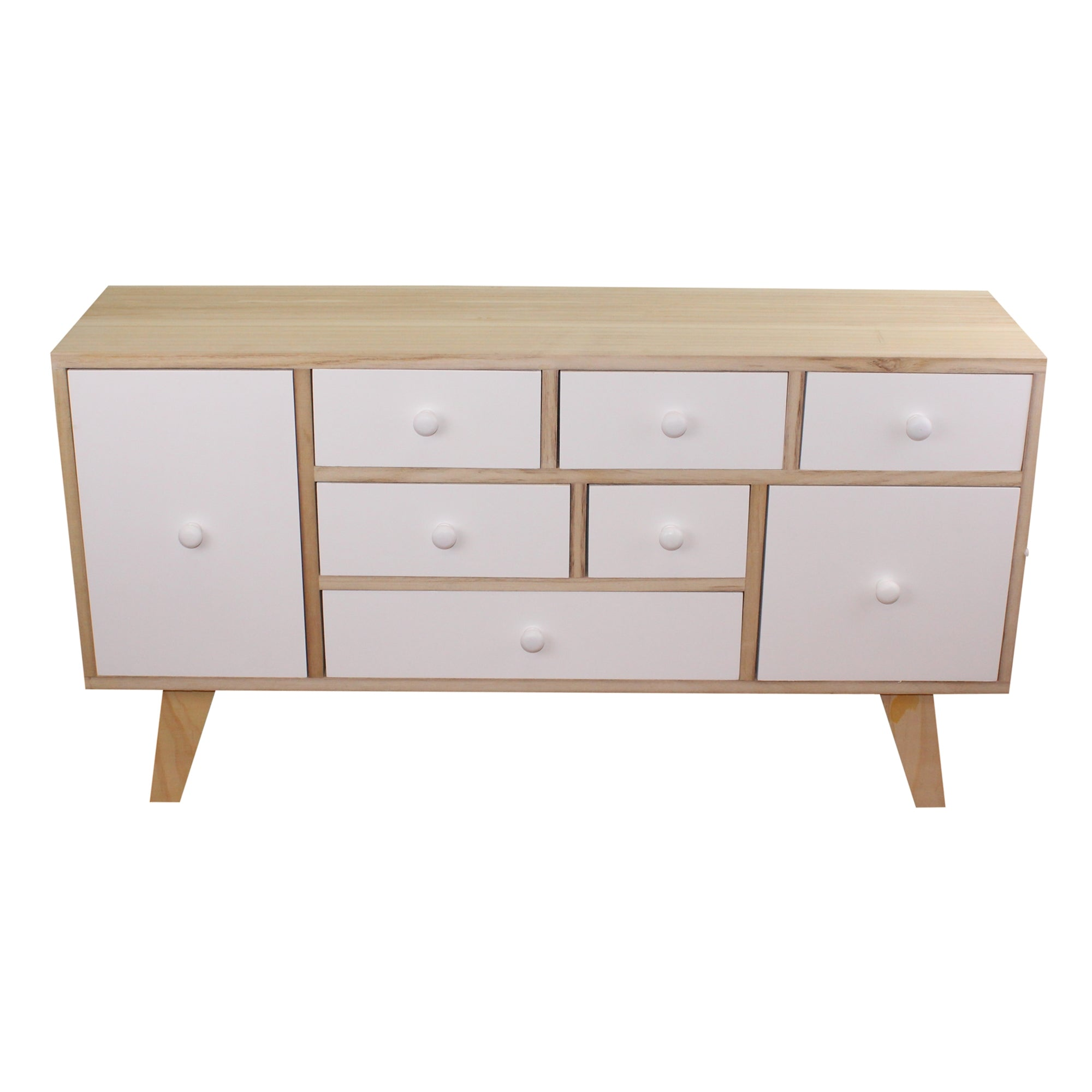 9 Drawer White & Wooden Storage Unit
