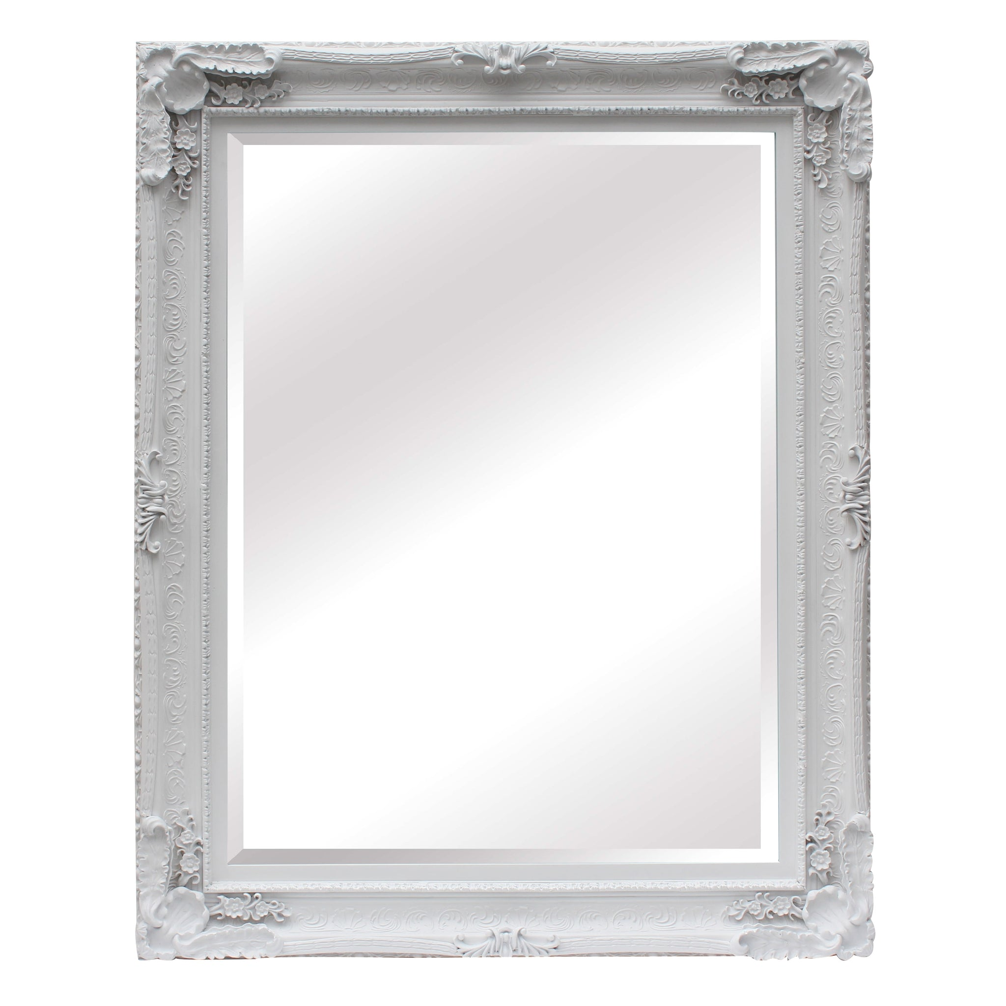 Large Ornate White Wall Mirror