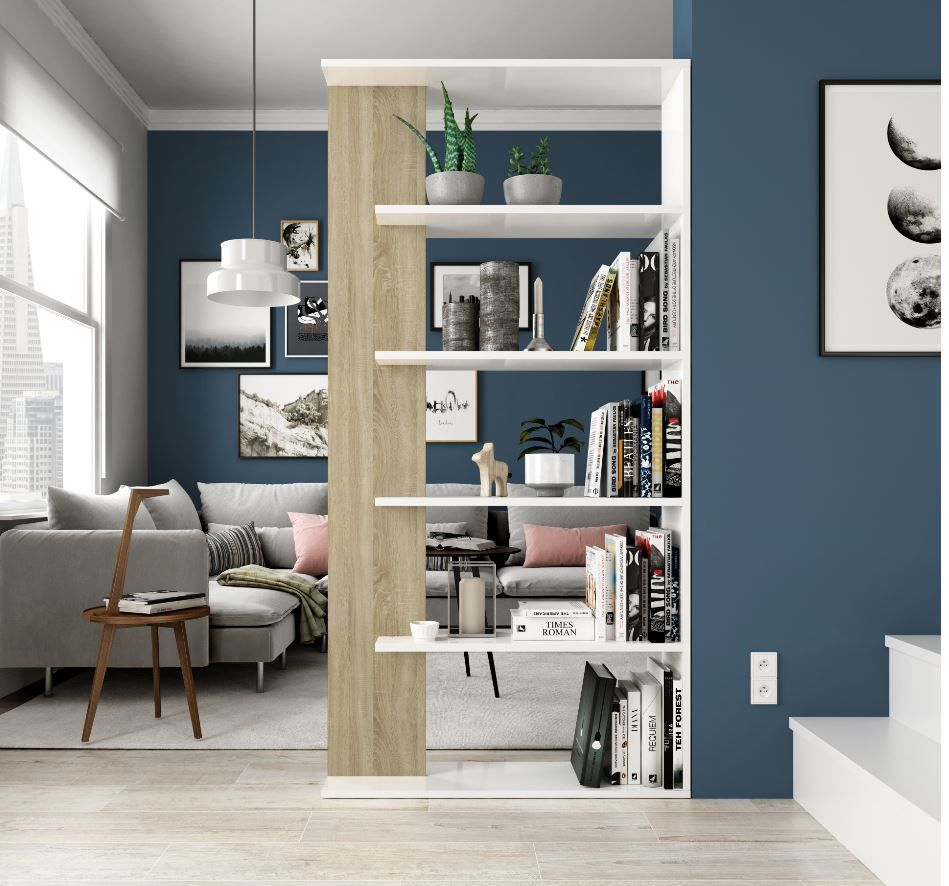 Dahlia White and Oak Effect Bookcase