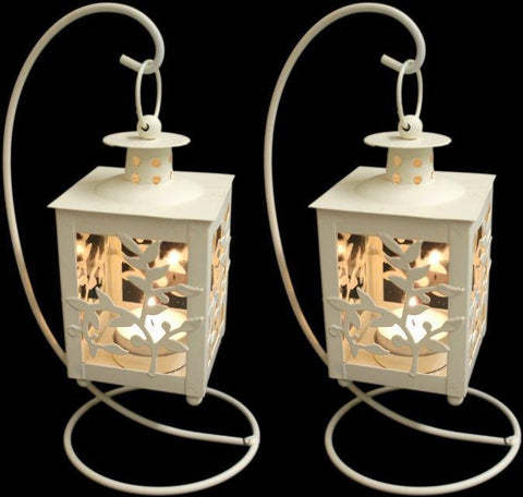 Floral Design Metal Lantern With Stand (Set of 2)