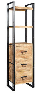 Indian Hub COSMO Industrial Style Slim Bookcase With 3 Drawers
