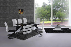 Arctic White High Gloss Extending Black Glass Dining Table with 4 or 6 Leona Z Chairs