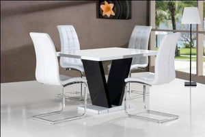 Zara White Table Top with 4 Enzo Chairs White