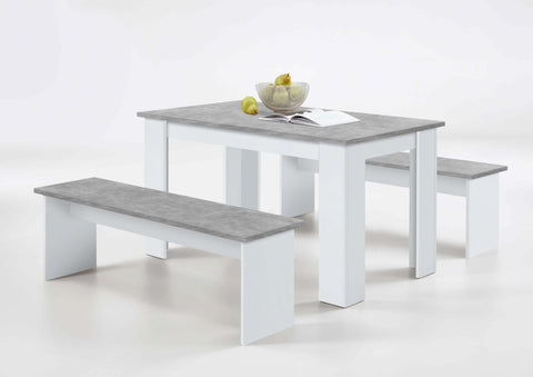 Angel White & Concrete Grey Dining Table with Bench Seats