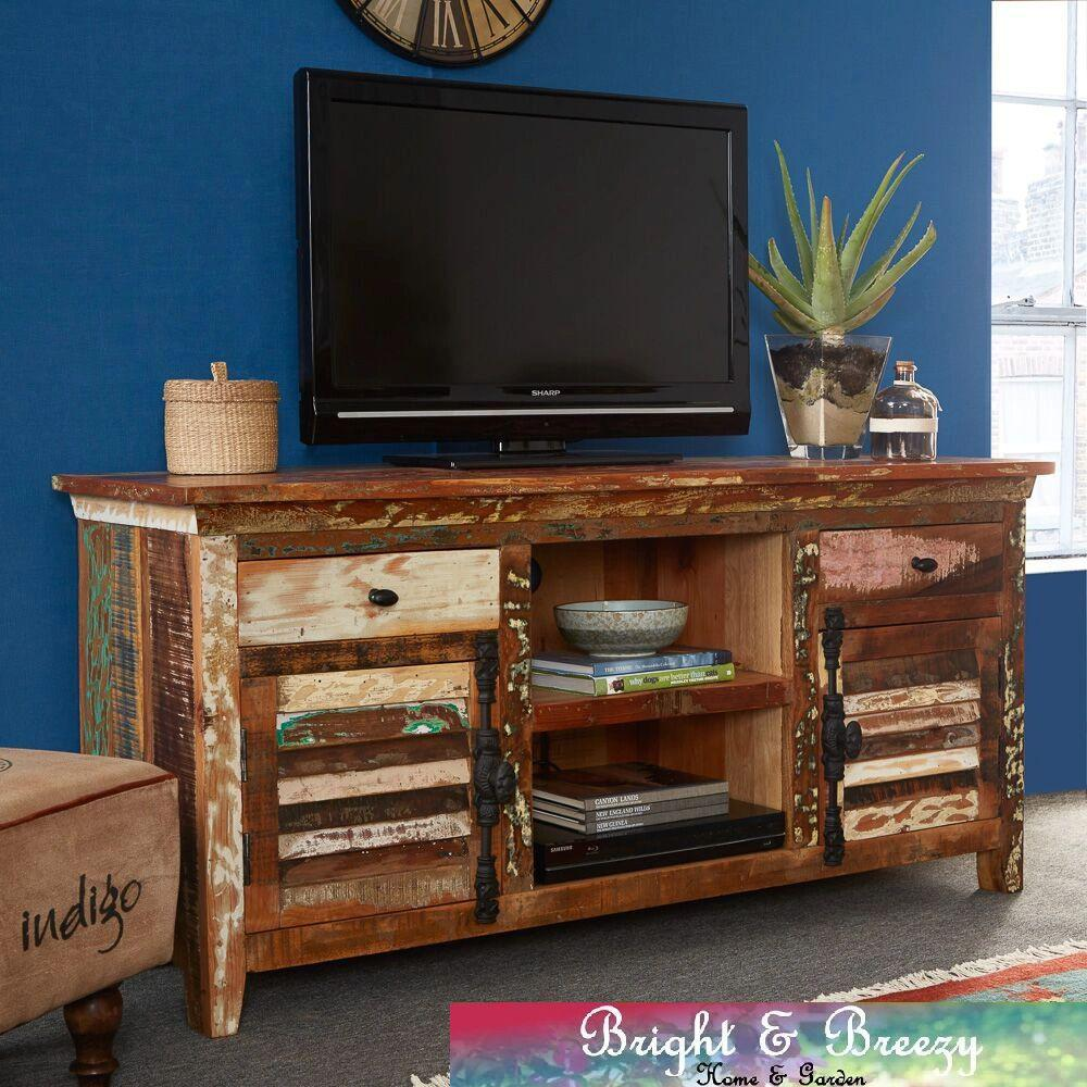 COASTAL Reclaimed Wooden TV Cabinet with Drawers