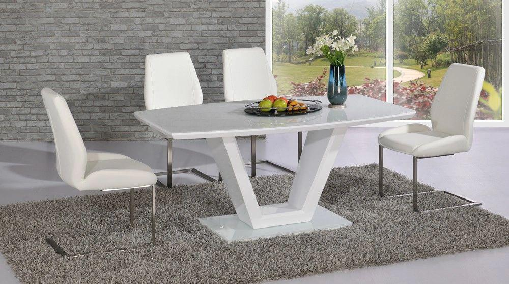 Vanity White High Gloss Table with 4 or 6 Mariya Chairs White