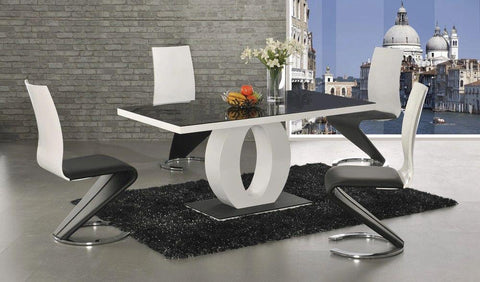 Halo Black Glass White High Gloss Dining Table With 4 or 6 Leona Z Chairs
