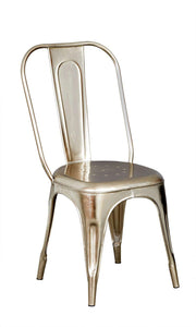 Indian Hub COSMO Industrial Silver Metal Chair (Sold as a Pair)