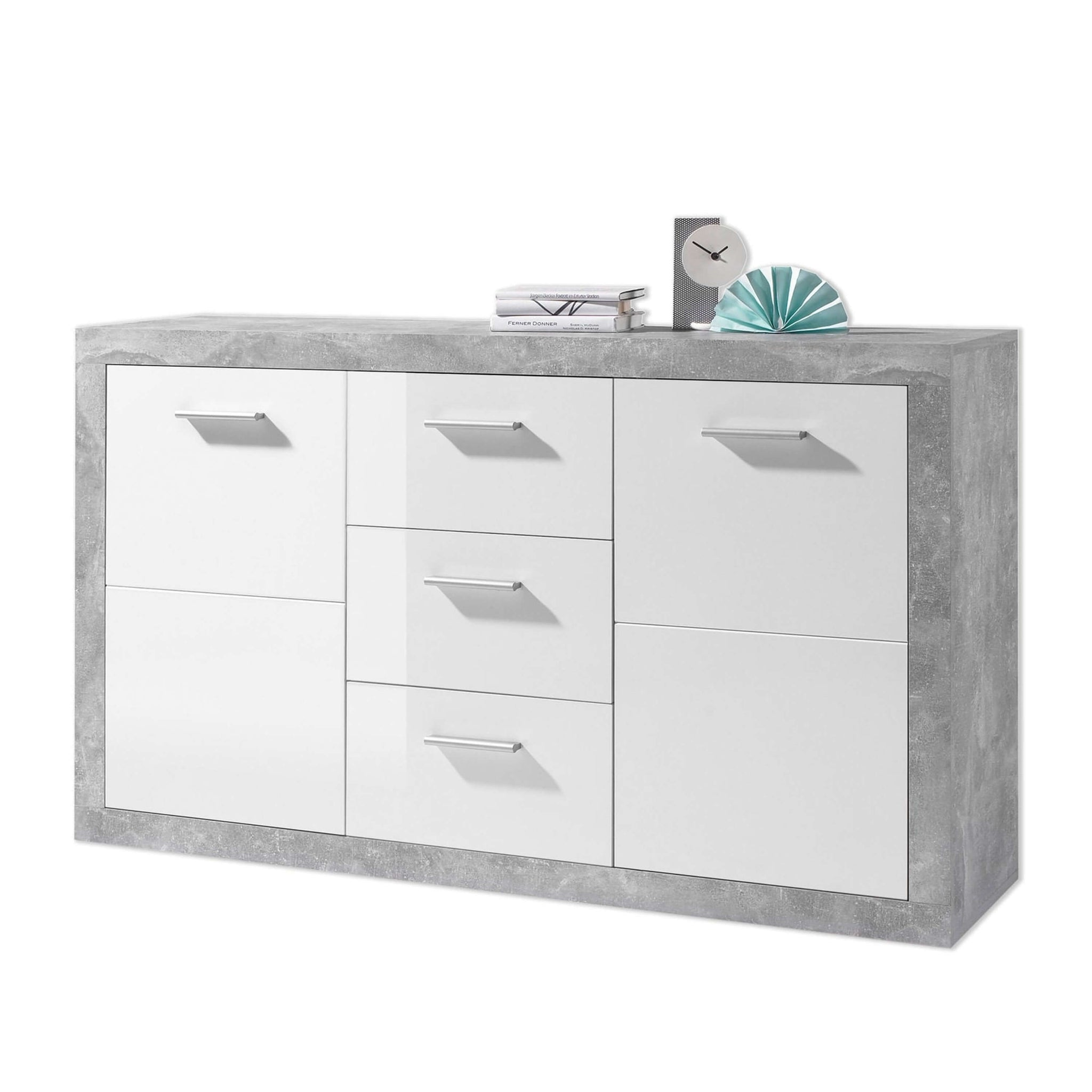 Sofia Large Sideboard Grey and White Gloss 2 Door, 3 Draw