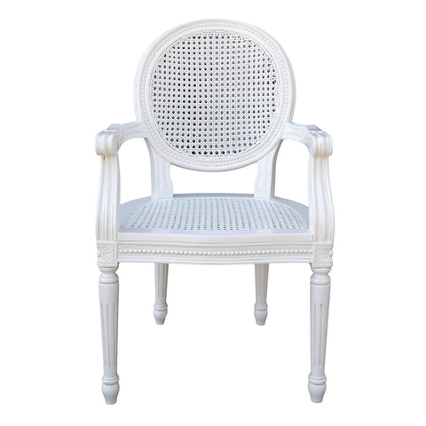 Chateau White Rattan Dining / Bedroom Arm Chair