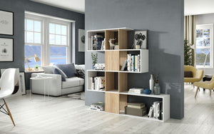 Lotus White and Oak Effect Gloss Bookcase