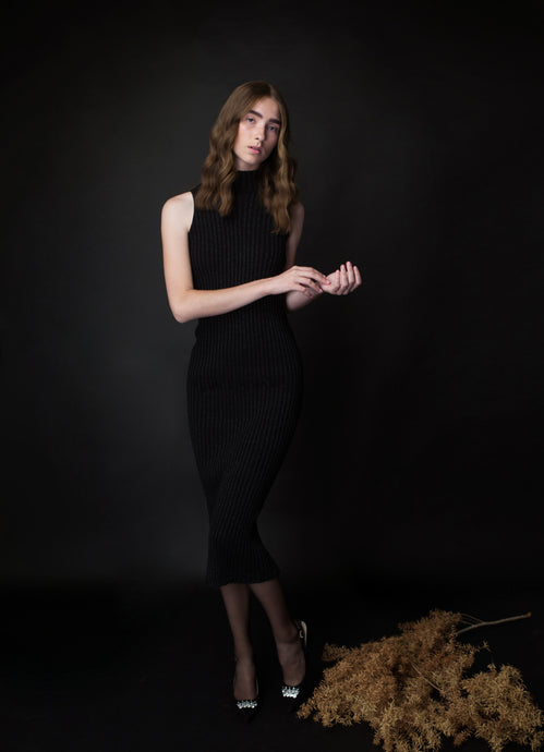long SHIRA dress in black