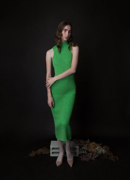 long SHIRA dress in green