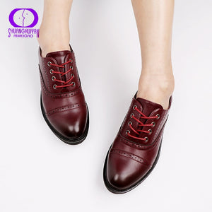 e25cca73c38 2017 Fashion Woman Spring Autumn Flat Oxford Shoes British Style Vintage  Shoes Soft PU Leather Red Casual Retro Brogues
