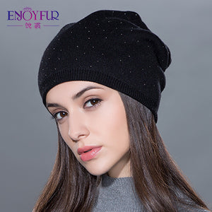 eb3022241 Women's winter hat knitted wool beanies female fashion skullies ...