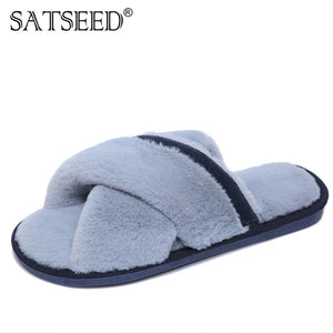 5f726e5e6a99 Autumn And Winter New Cross Fur Slippers Female Flat Bottom Slip Open Toe  Warm Sweat Slippers For WomenM8G31