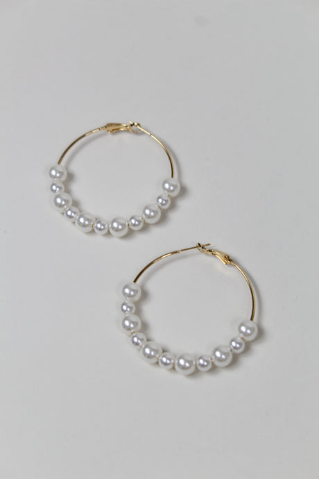 Newport Beach Light Pearl Hoops - The Beach Bride by Chic Parisien, a destination for beach weddings, bachelorettes and honeymoons