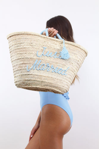 Just Married Large Beach Bag - The Beach Bride by Chic Parisien, a destination for beach weddings, bachelorettes and honeymoons