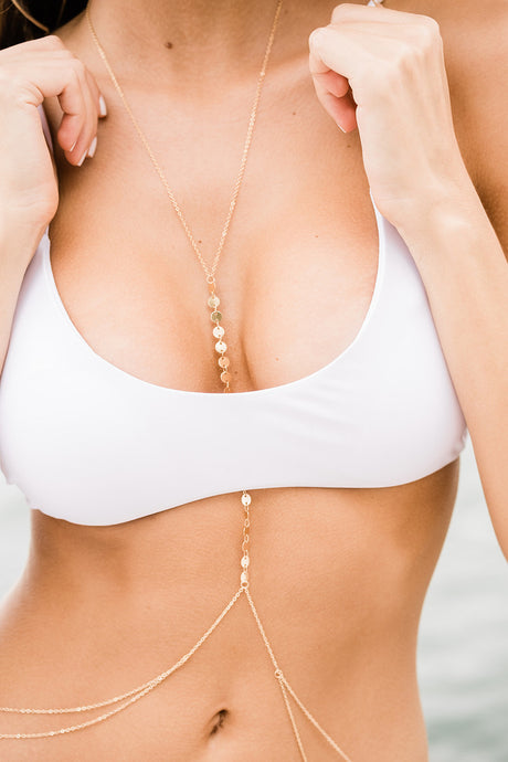 Minimalist Body Chain - The Beach Bride by Chic Parisien, a destination for beach weddings, bachelorettes and honeymoons