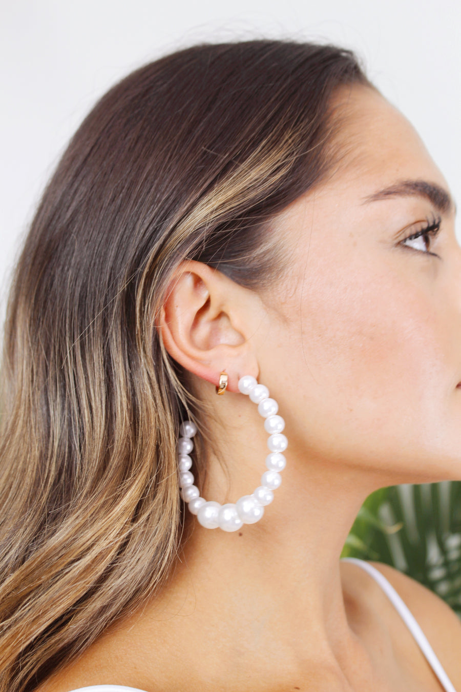 Aruba Large Pearl Hoop Earring - The Beach Bride by Chic Parisien, a destination for beach weddings, bachelorettes and honeymoons