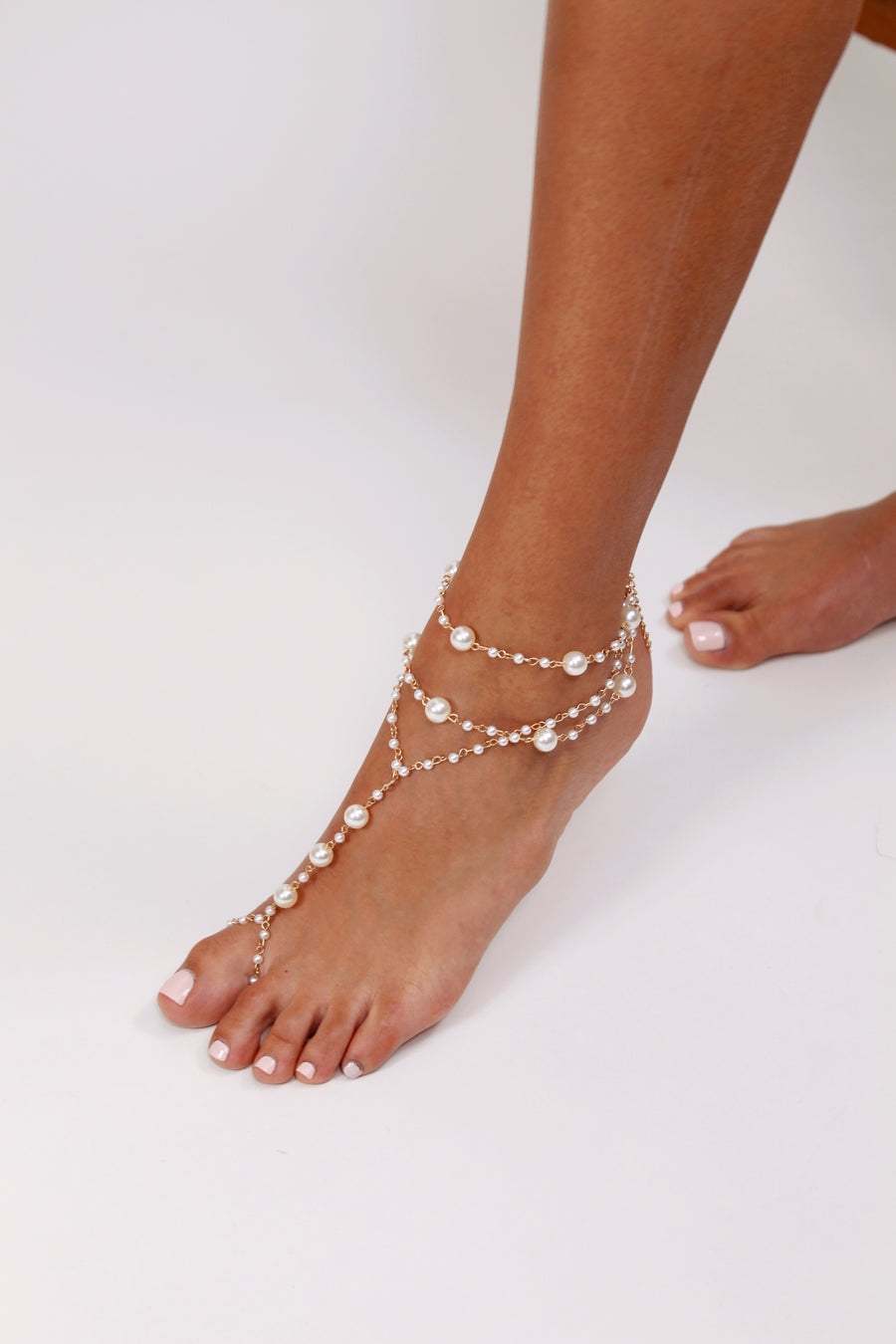 Barefoot Bridal Sandal with Pearls - The Beach Bride by Chic Parisien, a destination for beach weddings, bachelorettes and honeymoons