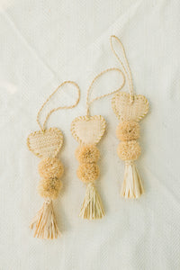 Heart Shaped Raffia Pom Poms - The Beach Bride by Chic Parisien, a destination for beach weddings, bachelorettes and honeymoons