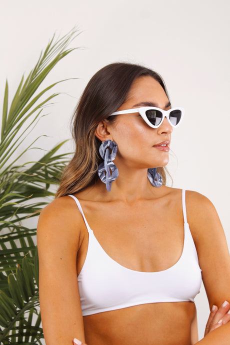Something Blue Modern Acrylic Earrings - The Beach Bride by Chic Parisien, a destination for beach weddings, bachelorettes and honeymoons