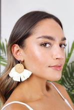 Load image into Gallery viewer, Cayman Raffia Button Earring - The Beach Bride by Chic Parisien, a destination for beach weddings, bachelorettes and honeymoons