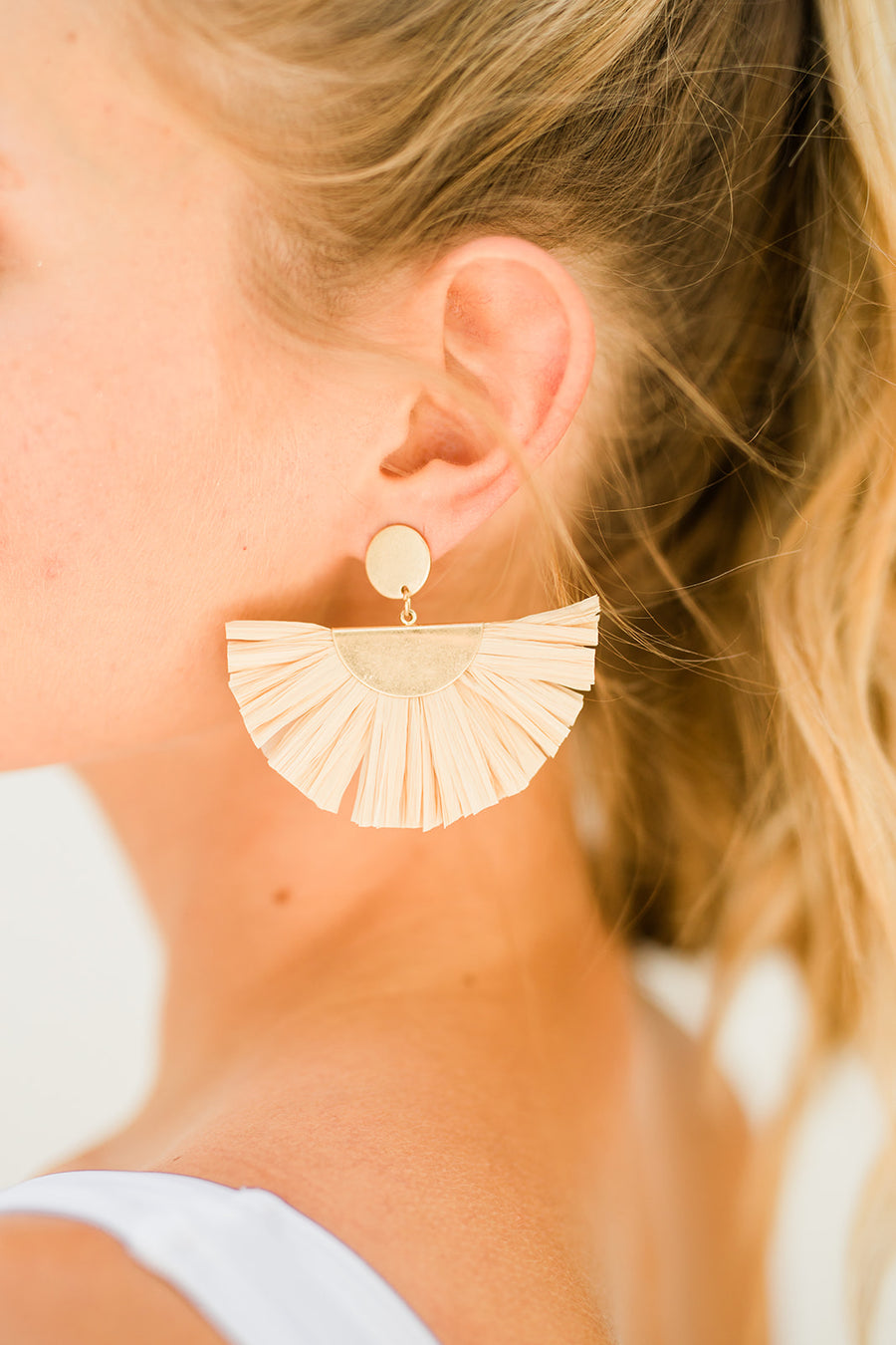 Fiji Raffia Fan Earrings - The Beach Bride by Chic Parisien, a destination for beach weddings, bachelorettes and honeymoons