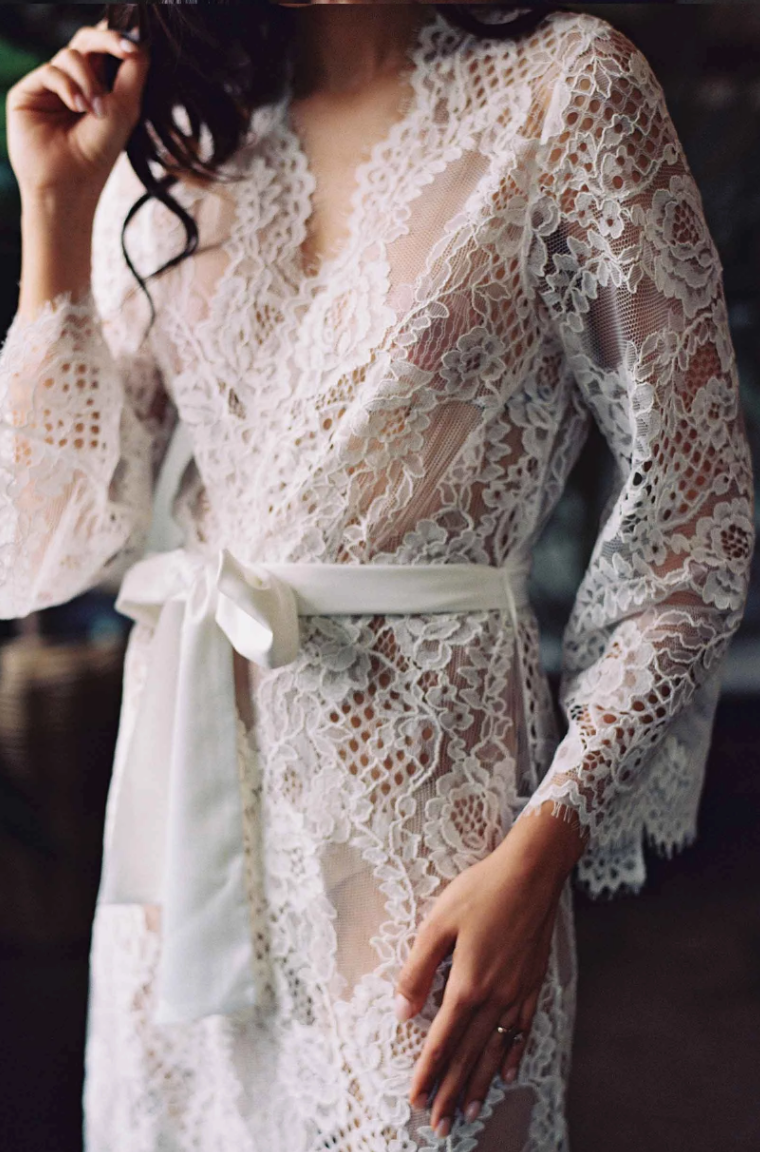 Leah Corded Robe Long - The Beach Bride by Chic Parisien, a destination for beach weddings, bachelorettes and honeymoons