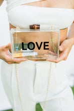Load image into Gallery viewer, LOVE Acrylic Wedding Evening Bag - The Beach Bride by Chic Parisien, a destination for beach weddings, bachelorettes and honeymoons