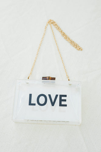 LOVE Acrylic Wedding Evening Bag - The Beach Bride by Chic Parisien, a destination for beach weddings, bachelorettes and honeymoons