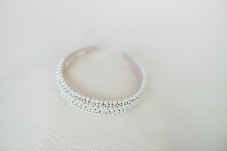 Paige Pearl Headband - The Beach Bride by Chic Parisien, a destination for beach weddings, bachelorettes and honeymoons
