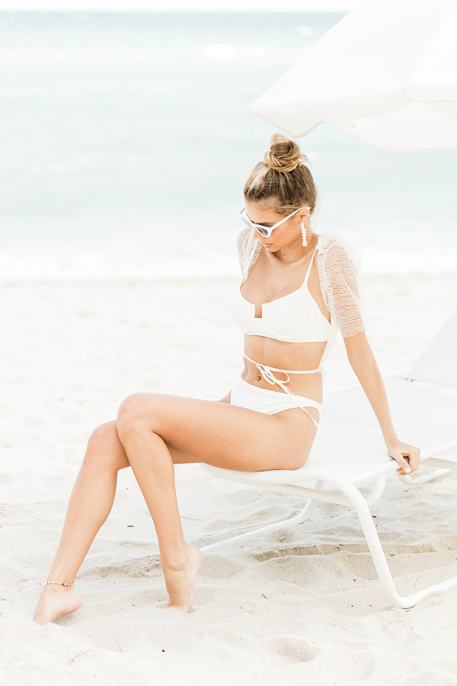 Classic Bride Cat Eye Sunglasses in White - The Beach Bride by Chic Parisien, a destination for beach weddings, bachelorettes and honeymoons