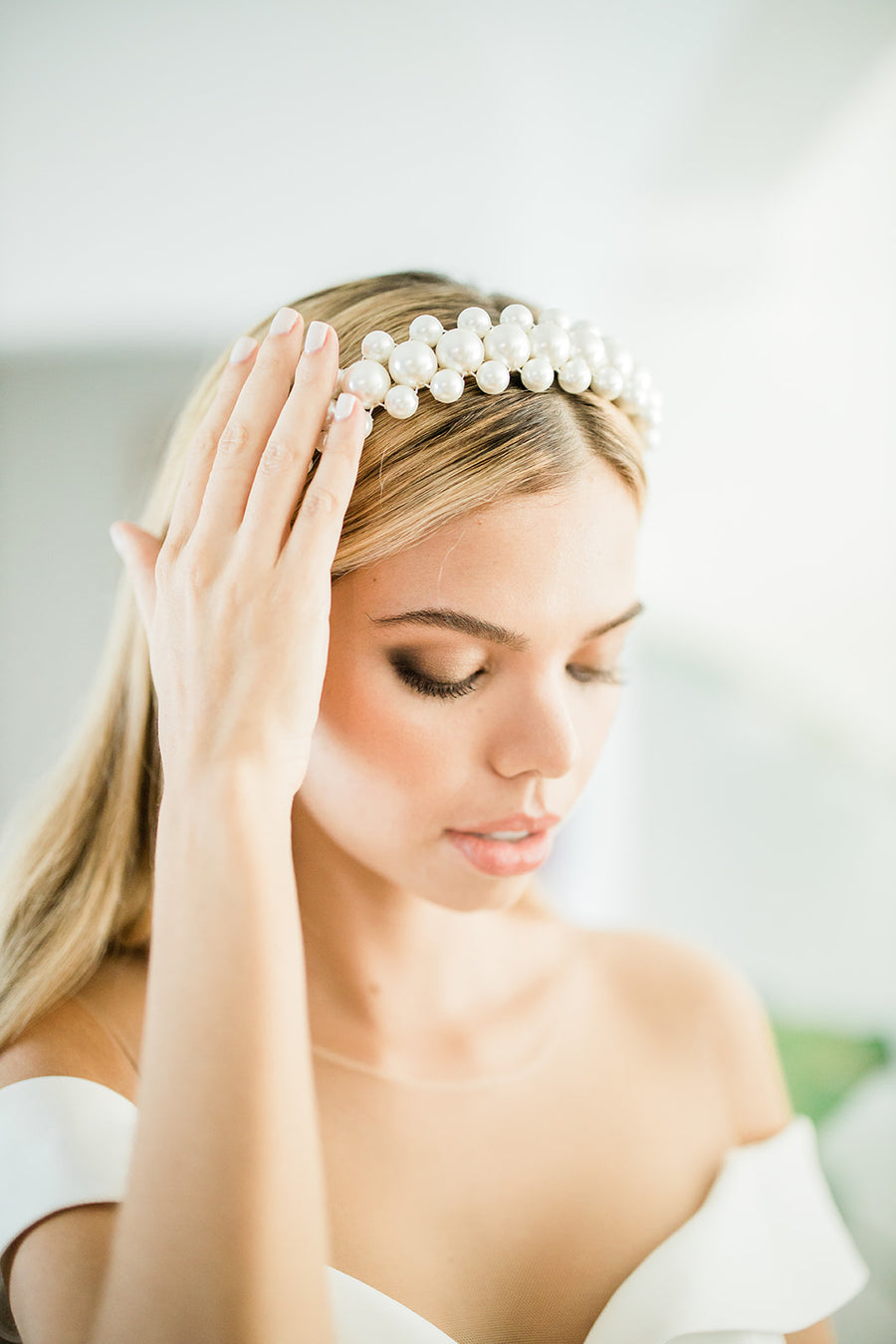 Zayna Beaded Pearl Headband - The Beach Bride by Chic Parisien, a destination for beach weddings, bachelorettes and honeymoons