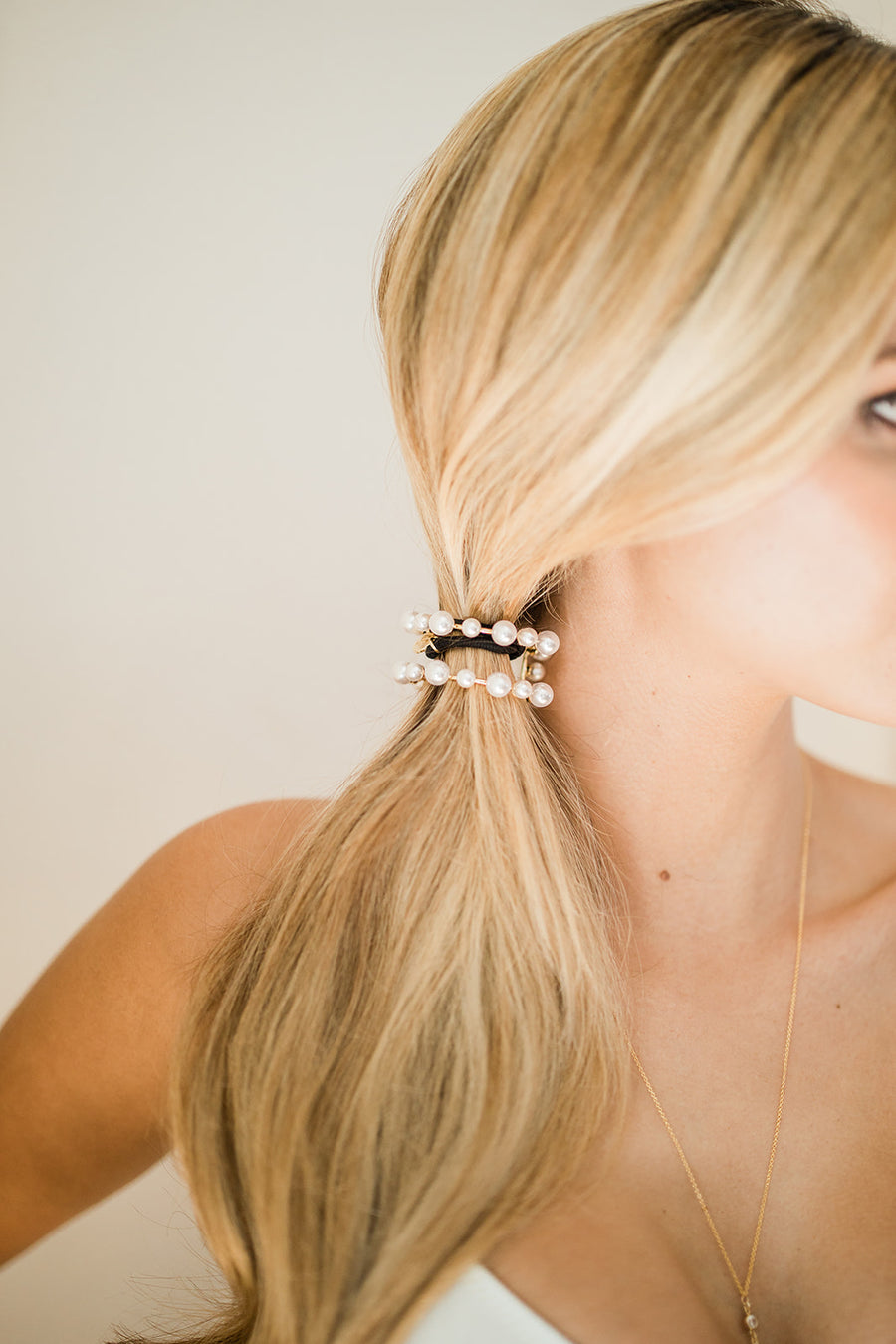 Linear Pearl Pony Cuff - The Beach Bride by Chic Parisien, a destination for beach weddings, bachelorettes and honeymoons