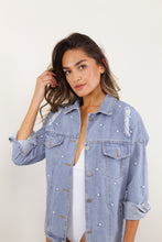 Load image into Gallery viewer, Pearl Embellished Denim Jacket - The Beach Bride by Chic Parisien, a destination for beach weddings, bachelorettes and honeymoons