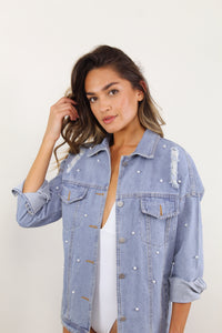Pearl Embellished Denim Jacket - The Beach Bride by Chic Parisien, a destination for beach weddings, bachelorettes and honeymoons