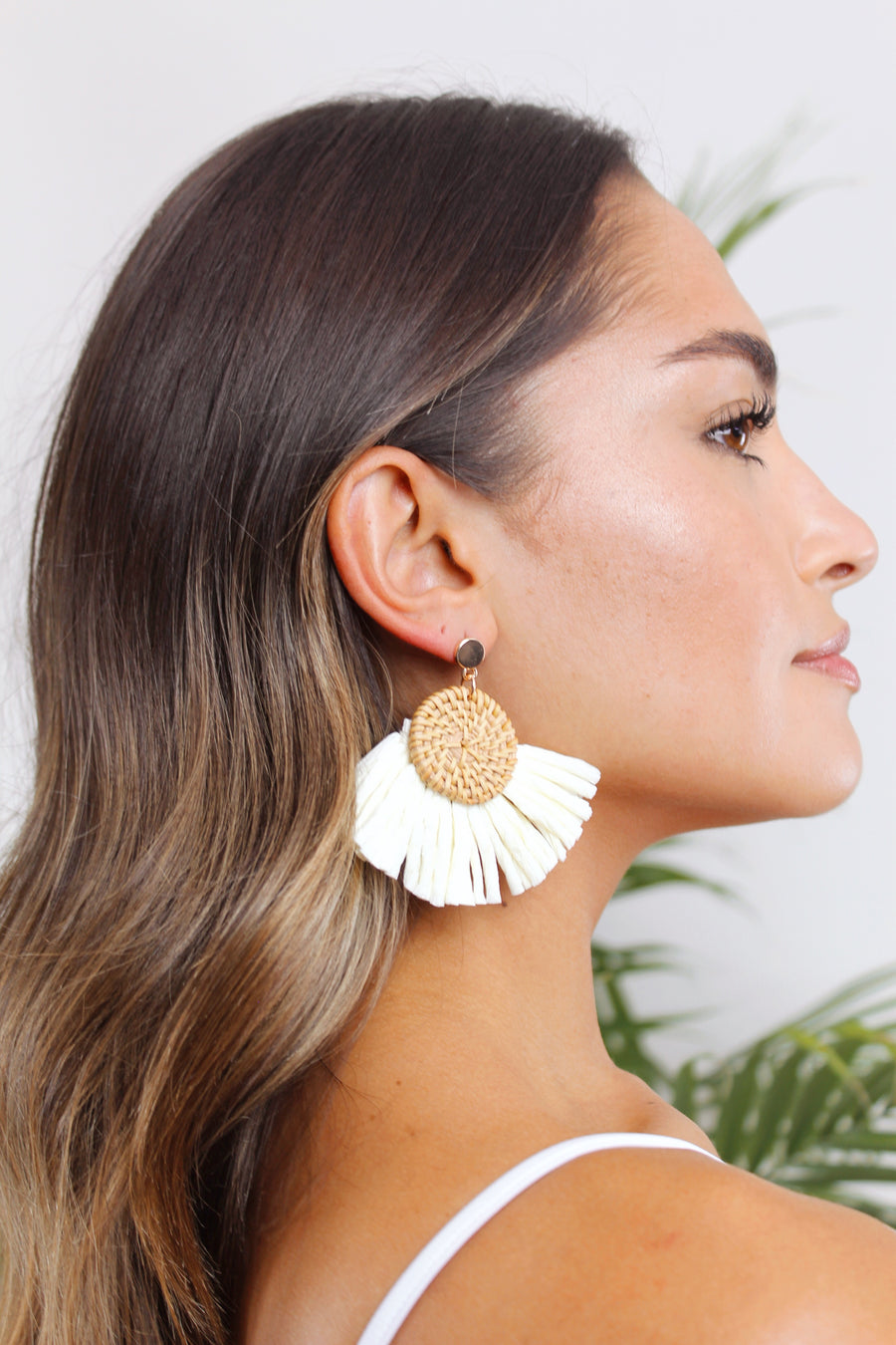 Cayman Raffia Button Earring - The Beach Bride by Chic Parisien, a destination for beach weddings, bachelorettes and honeymoons