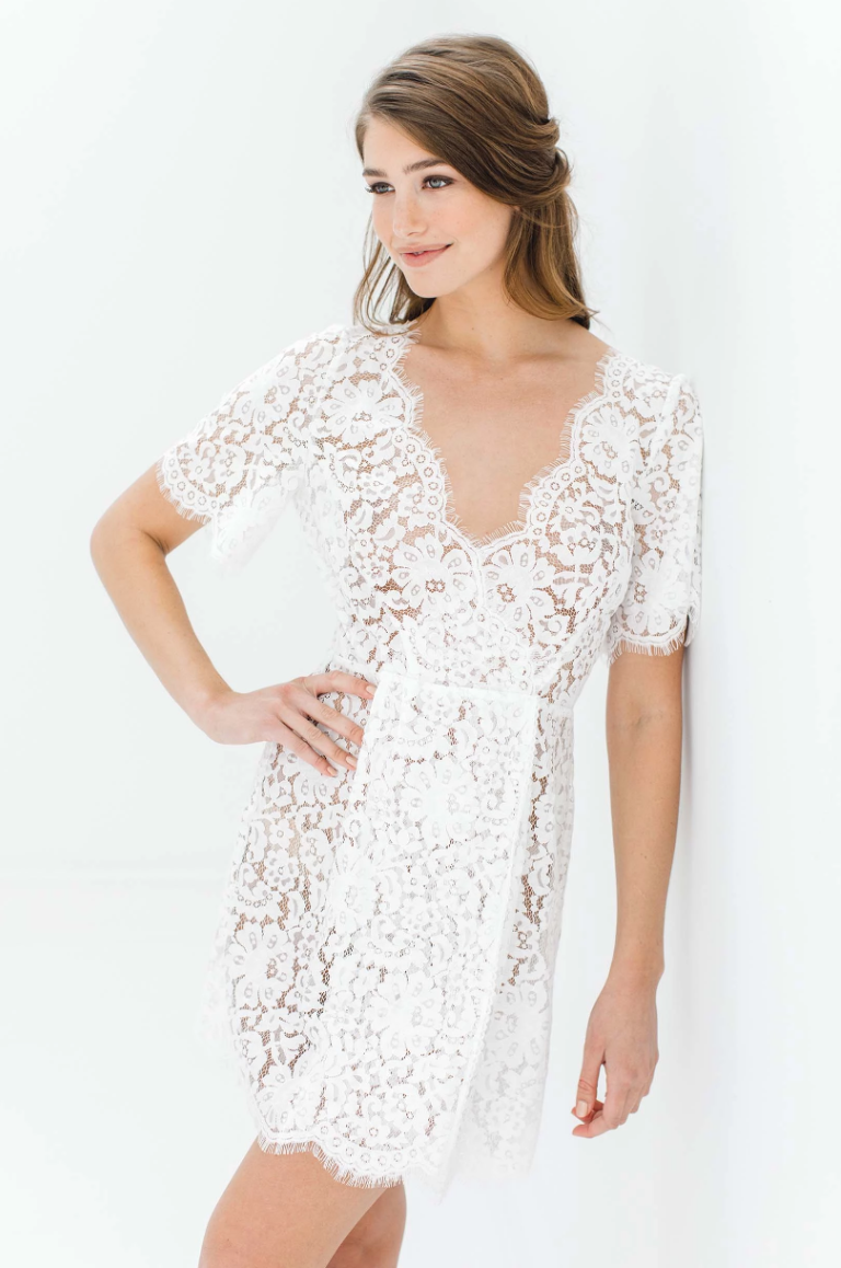 Sunshine Open Back Lace Robe with Tassels - The Beach Bride by Chic Parisien, a destination for beach weddings, bachelorettes and honeymoons