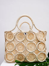 Load image into Gallery viewer, Macrame Basket Tote-Natural by HatAttack - The Beach Bride by Chic Parisien, a destination for beach weddings, bachelorettes and honeymoons