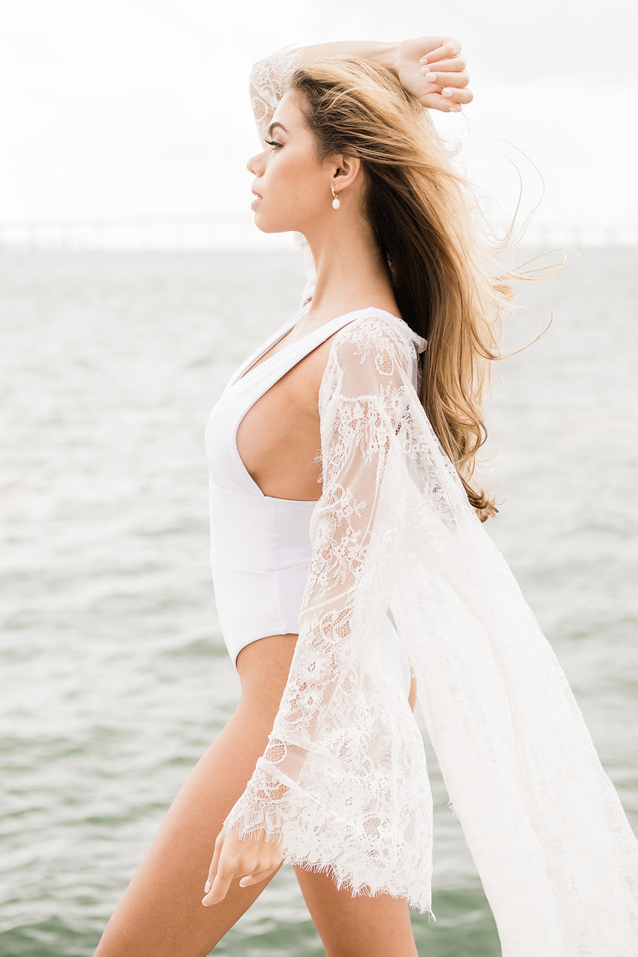 The Capri Lace Kimono Cover Up - The Beach Bride by Chic Parisien, a destination for beach weddings, bachelorettes and honeymoons