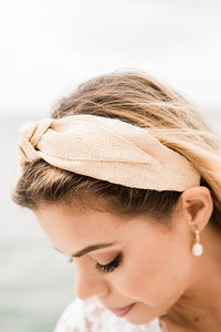 Raffia Top Knot Headband - The Beach Bride by Chic Parisien, a destination for beach weddings, bachelorettes and honeymoons