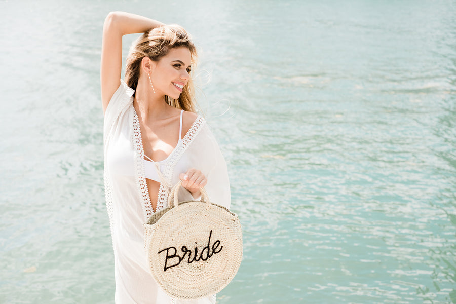 Roundie Straw Bride Bag - The Beach Bride by Chic Parisien, a destination for beach weddings, bachelorettes and honeymoons